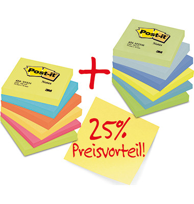 Haftnotiz Promotion Rainbow 654ENDRP sortiert 12 St./Pack.