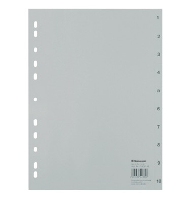 Kunststoffregister 1519 1-10 A4 0,12mm graue Taben 10-teilig