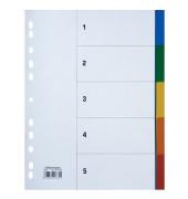 Kunststoffregister 1527 blanko A4 0,115mm farbige Taben 5-teilig