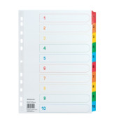 Kartonregister 1579 DIN A4 1-10 volle Höhe Karton farbig 10-teilig
