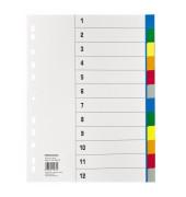 Kunststoffregister 1532 blanko A4 0,115mm farbige Taben 12-teilig