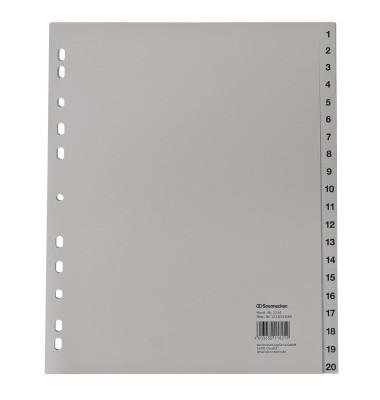Register 2134 DIN A4 1-20 volle Höhe Überbreite PP grau