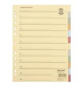Kartonregister 1523 DIN A4 blanko volle Höhe Recycling farbig 12-teilig
