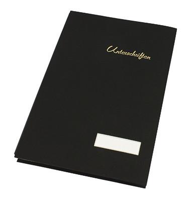 Unterschriftenmappe 1493 A4 Leinen schwarz mit Einsteckschild 20 Fächer