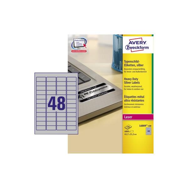 AVERY Zweckform Typenschild Etiketten 45,7 x 21,2mm silber 4.800 Etiketten