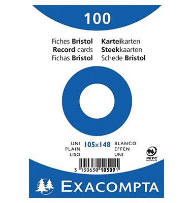 Karteikarten 10509E A6 blanko 205g weiß 100 Stück