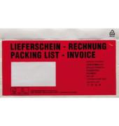 Dokumententasche Lieferschein- Rechnung DL mF sk rt 250 St./Pack.