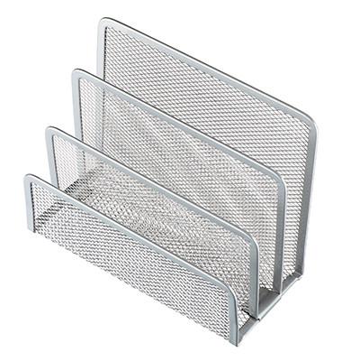 Briefständer Mesh H2518300 14x7x9,7cm 3Fächer Metall silber