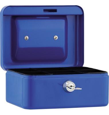 Geldkassette 15,2x8x11,5cm 5Fächer blau