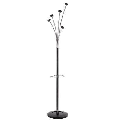 Garderobenständer Festy PMFESTY CH, mit 5 Haken, mit Schirmständer, Metall, silber, schwarz