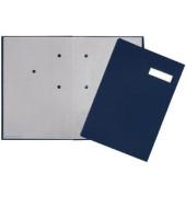 Unterschriftenmappe 24191 A4 Leinen blau mit Einsteckschild 20 Fächer