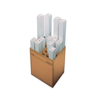 Zeichenrollenständer 120 braun mit 20 Fächern 460x353x600mm Wellpappe
