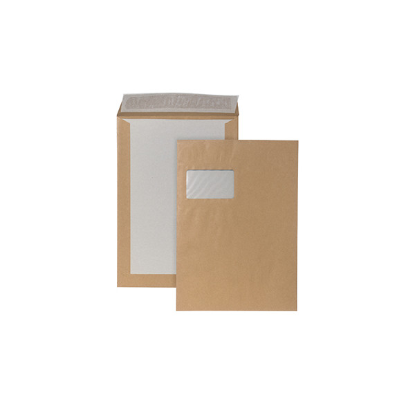 125 Versandtaschen C4 mit Papprückwand und Fenster Kartonrückwand Farbe braun