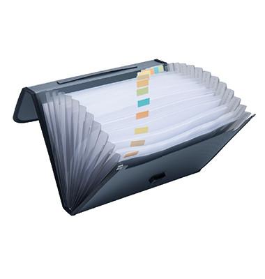 Fächermappe 370003090 A4 mit 12 Fächern 12-teilig blanko Kunststoff schwarz