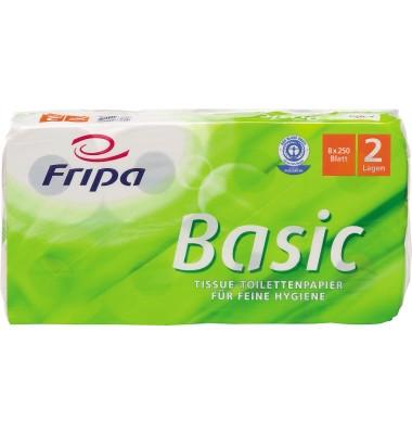 Toilettenpapier Basic 1510805 2-lagig 250Bl. weiß 8 Rl./Pack.
