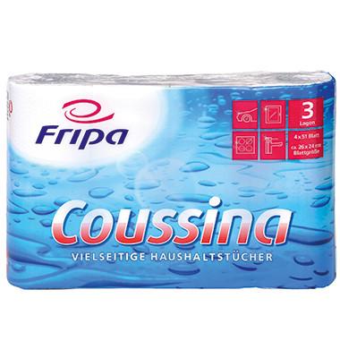 Küchenrollen 3204002 Coussina 3-lagig weiß 4 Rollen à 51 Blatt