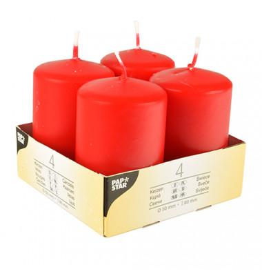 Stumpenkerze HxØ 80x50mm bis 16 Stunden rot 4 Stück 10490