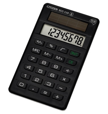 Taschenrechner ECC110 8stellig Solar schwarz