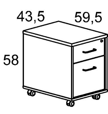Rollcontainer m. 1 Schublade u.Hängereg. Alu-Grau 4004AB02