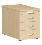 Rollcontainer Flex S-530351-AH/AH Holz ahorn, 3 normale Schubladen, mit extra Utensilienauszug, abschließbar