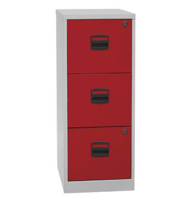Hängeregistraturschrank PFA3F506 3Schübe grau/rot