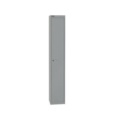 Spind, Metall, 1 Abteil mit 1 Fach, abschließbar, 30,5x180,2cm (BxH), silber