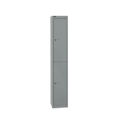 Spind, Metall, 1 Abteil mit 2 Fächern, abschließbar, 30,5x180,2cm (BxH), silber