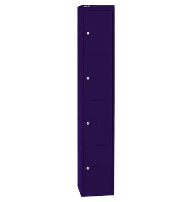 Schließfachschrank, Metall, 1 Abteil mit 4 Fächern, abschließbar, 30,5x180,2cm (BxH), blau