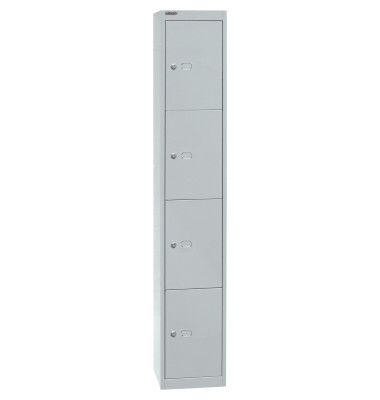 Schließfachschrank, Metall, 1 Abteil mit 4 Fächern, abschließbar, 30,5x180,2cm (BxH), lichtgrau