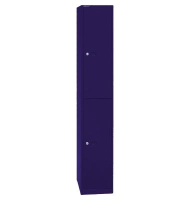 Spind, Metall, 1 Abteil mit 2 Fächern, abschließbar, 30,5x180,2cm (BxH), blau
