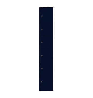 Schließfachschrank, Metall, 1 Abteil mit 6 Fächern, abschließbar, 30,5x180,2cm (BxH), blau