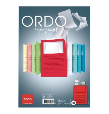 Sichtmappe Ordo classico DIN A4 120g/m² Papier rot 10 St./Pack.