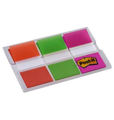 Index Haftstreifen Standard 25,4 x 43,2 mm (B x H) 1 x orange, 1 x limonengrün, 1 x pink 20 Bl./Block 3 Block/Pack.