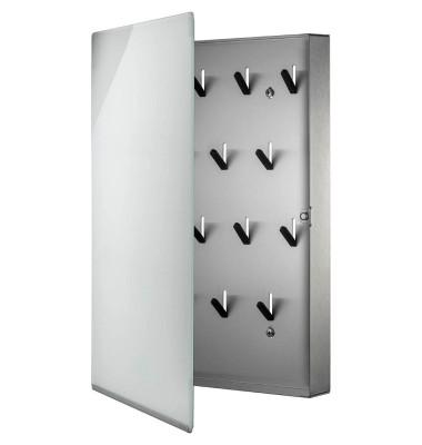 Schlüsselschrank VELIO 30 x 40 x 5 cm (B x H x T) 14 Haken Edelstahl/Glas weiß