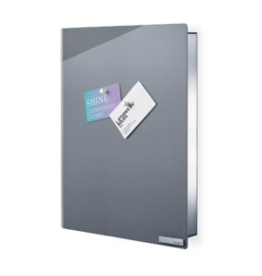 Schlüsselschrank VELIO 30 x 40 x 5 cm (B x H x T) 14 Haken Edelstahl/Glas grau