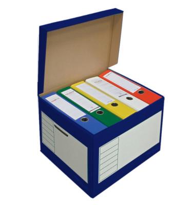 Archivbox, 43l, Wellp., Klappdeckel, 41x35x30cm, i: 39x33x29cm, blau