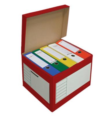 Archivbox, 43l, Wellp., Klappdeckel, 41x35x30cm, i: 39x33x29cm, rot