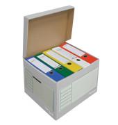 Archivbox, 43l, Wellp., Klappdeckel, 41x35x30cm, i: 39x33x29cm, grau