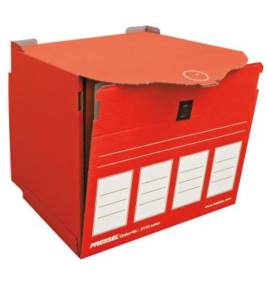 Archivbox, XL, für 4 Ordner A4, Klettverschl., 36x31x34cm, rot