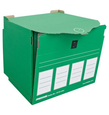 Archivbox, XL, für 4 Ordner A4, Klettverschl., 36x31x34cm, grün