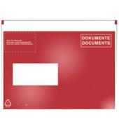 C6 Begleitpapiertasche DOKUMENTE rot/weiß 250 Stück