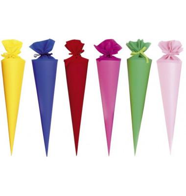 Bastelschult/üte Rohling Schult/üte pink mit farbiger Filzmanschette 70 cm