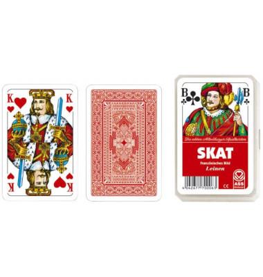 Spielkarten Skat Leinen französisches Blatt Kunststoffetui