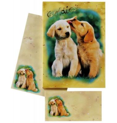 180350 Hundewelpen Briefpapier Kinder 10/10 farb.