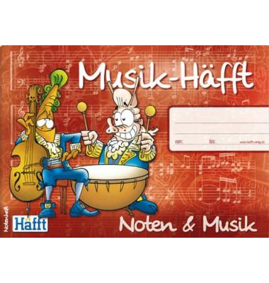 Musikheft Musik-Häfft A5 quer Notenlinien mit Lernhilfe 34 Blatt