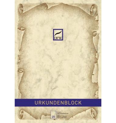 880110 Marmor o.Druck Urkundenblock A4 chamois