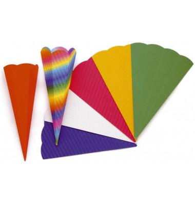 Bastel-Schultüte farbig sortiert 68cm 6-eckig 97850