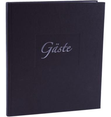 48045 23x25cm Gästebuch m.Wortp. schwarz