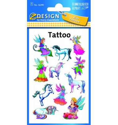 56390 Tattoo Elfen+Einhorn fbg.