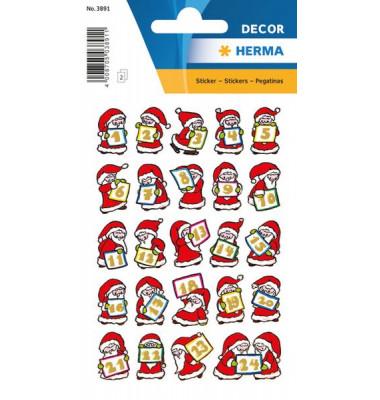 Weihnachtsetiketten Adventskalender 1-24